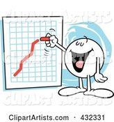 Moodie Character Happily Drawing an Upswing Line on a Chart