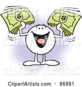 Moodie Character Holding up Bundles of Cash