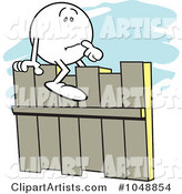 Moodie Character Straddling a Fence