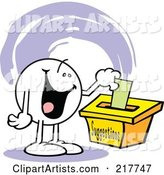 Moodie Character with a Happy Expression, Putting a Comment in a Suggestion Box
