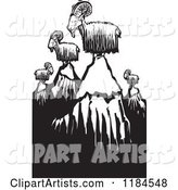 Mountain Goats on Peaks, Black and White Woodcut