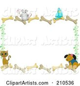 Mouse, Bird, Dog and Cat on a Bone Border