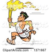 Muscular Olympic Greek Torch Bearer Man Running in a Toga