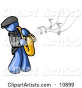Musical Blue Man Playing Jazz with a Saxophone
