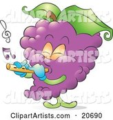 Musical Bunch of Purple Grapes Playing a Flute