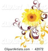 Nature Background of a Bright Sunflower with Red and Orange Vines