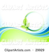 Nature Background of a Green Vine Circle over White, Above Waves of Blue and Green