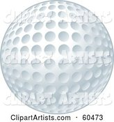 New and Clean White Golf Ball with Dimples