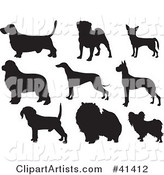 Nine Black Silhouetted Dog Profiles