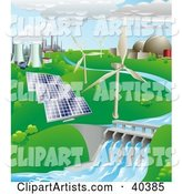 Nuclear, Fossil Fuel, Wind Power, Photovoltaic Cells, and Hydro Electric Water Power Generation Farms