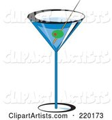 Olive Garnish in a Blue Martini Alcoholic Beverage