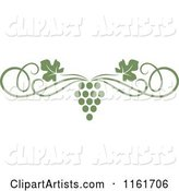 Olive Green Grape Vine and Swirl Page Border