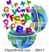 Open Globe with Alphabet Letters