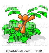 Orange Business Man Jumping in a Pile of Money and Throwing Cash into the Air
