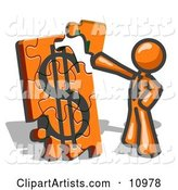 Orange Businessman Putting a Dollar Sign Puzzle Together