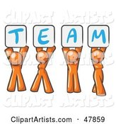 Orange Design Mascot Group Holding up Team Signs