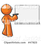 Orange Design Mascot Man Writing on a White Board
