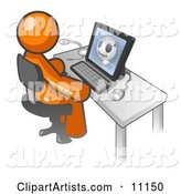 Orange Doctor Man Sitting at a Computer and Viewing an Xray of a Head