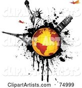 Orange Globe on a Black Splatter with the Statue of Liberty, Tower of Pisa, Eiffel Tower and Planes