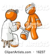 Orange Male Doctor in a Lab Coat, Sitting on a Stool and Bandaging an Orange Person That Has Been Hurt on the Head, Arm and Ankle