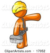 Orange Man, a Construction Worker, Handyman or Electrician, Wearing a Yellow Hardhat and Tool Belt and Carrying a Metal Toolbox While Pointing to the Right