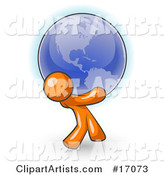 Orange Man Carrying the Blue Planet Earth on His Shoulders, Symbolizing Ecology and Going Green