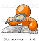 Orange Man Character Using a Magnifying Glass to Examine the Facts in the Daily Newspaper
