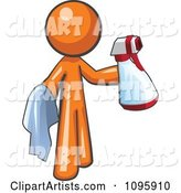 Orange Man Cleaning with a Spray Bottle and Cloth