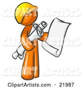 Orange Man Contractor or Architect Holding Rolled Blueprints and Designs and Wearing a Hardhat