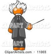 Orange Man Depicted As Albert Einstein Holding a Pointer Stick