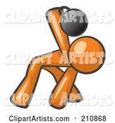 Orange Man Design Mascot Bent over and Working out with a Kettlebell