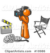 Orange Man Filming a Movie Scene with a Video Camera in a Studio