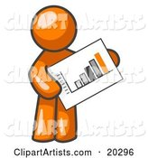 Orange Man Holding a Bar Graph Displaying an Increase in Profit
