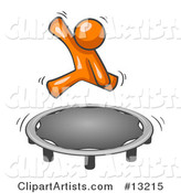 Orange Man Jumping on a Trampoline