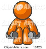 Orange Man Lifting Dumbbells While Strength Training