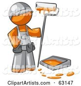 Orange Man Painter with a Paint Pan and Roller