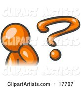 Orange Man Rubbing His Chin and Posed by a Question Mark, Symbolizing, Curiousity, Confusion and Uncertainty