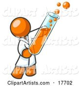 Orange Man Scientist Holding a Test Tube Full of Bubbly Orange Liquid in a Laboratory