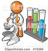Orange Man Scientist Using a Microscope by Vials