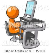 Orange Man Sitting at a Desk in Front of a Computer with a Scanner at His Side