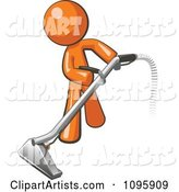 Orange Man Using a Carpet Cleaner Wand