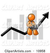 Orange Man Using a Laptop Computer, Riding the Increasing Arrow Line on a Business Chart Graph