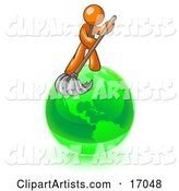 Orange Man Using a Wet Mop with Green Cleaning Products to Clean up the Environment of Planet Earth