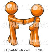 Orange Man Wearing a Tie, Shaking Hands with Another upon Agreement of a Business Deal