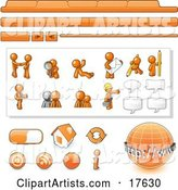 Orange Man Web Design Kit with Tabs, Icons and Web Buttons