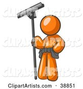 Orange Man Window Cleaner Standing with a Squeegee