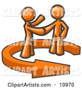 Orange Salesman Shaking Hands with a Client While Making a Deal