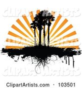 Orange Sunset Rays Silhouetting Palm Trees and Grass, with Dripping Grunge