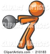 Orange Woman Design Mascot Working out with a Kettle Bell