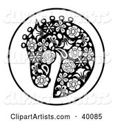 Oriental Horse Head Profile in Floral Pattern